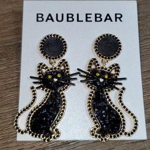 BaubleBar Black Kitty Cat Earrings